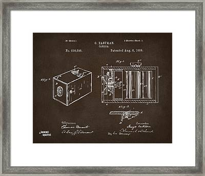 1889 George Eastman Camera Patent Espresso Framed Print by Nikki Marie Smith