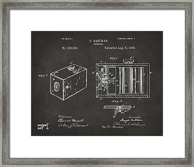 1889 George Eastman Camera Patent Gray Framed Print by Nikki Marie Smith