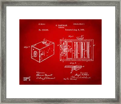1889 George Eastman Camera Patent Red Framed Print by Nikki Marie Smith