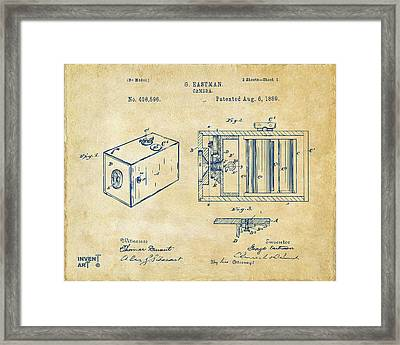 1889 George Eastman Camera Patent Vintage Framed Print by Nikki Marie Smith
