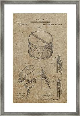 1889 Snare Drum Patent Vintage Paper Framed Print by Dan Sproul