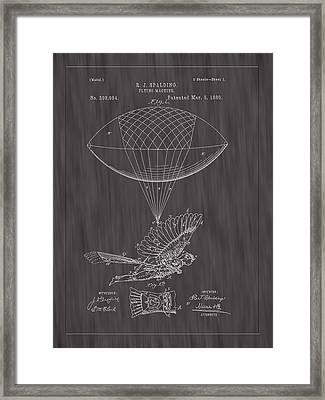 1889 Spalding Flying Machine Patent Art-black Woodgrain Framed Print