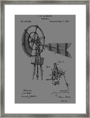 1889 Windmill Patent Framed Print by Dan Sproul