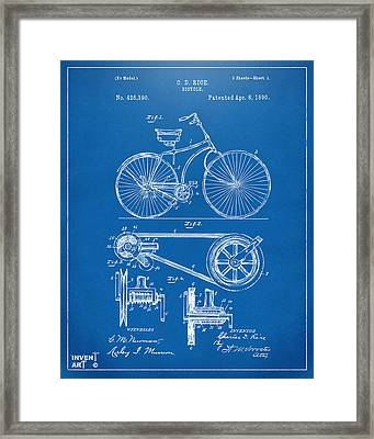 1890 Bicycle Patent Artwork - Blueprint Framed Print by Nikki Marie Smith