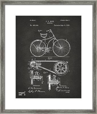 1890 Bicycle Patent Artwork - Gray Framed Print