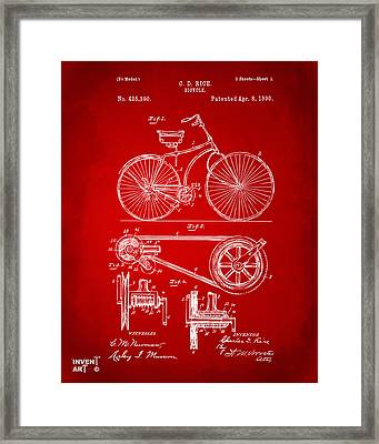 1890 Bicycle Patent Artwork - Red Framed Print