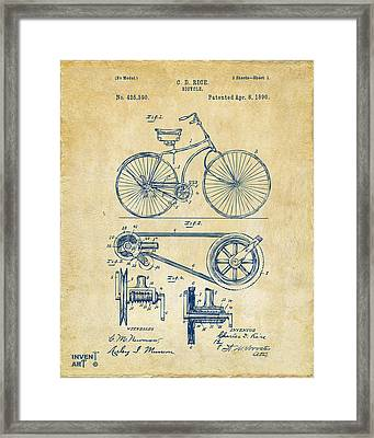 Framed Print featuring the digital art 1890 Bicycle Patent Artwork - Vintage by Nikki Marie Smith
