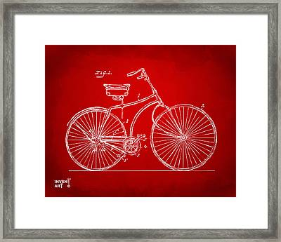 1890 Bicycle Patent Minimal - Red Framed Print
