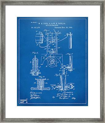 1890 Bottling Machine Patent Artwork Blueprint Framed Print by Nikki Marie Smith