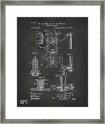 1890 Bottling Machine Patent Artwork Gray Framed Print by Nikki Marie Smith