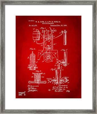 1890 Bottling Machine Patent Artwork Red Framed Print by Nikki Marie Smith