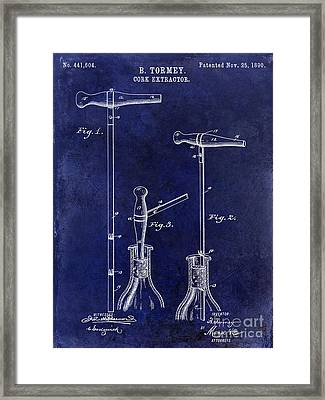 1890 Cork Extractor Patent Drawing Blue Framed Print by Jon Neidert