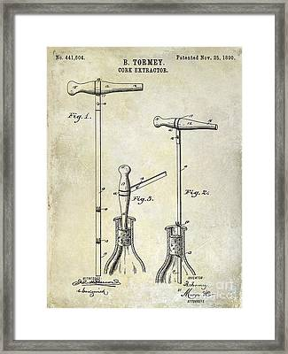 1890 Cork Extractor Patent Drawing Framed Print by Jon Neidert