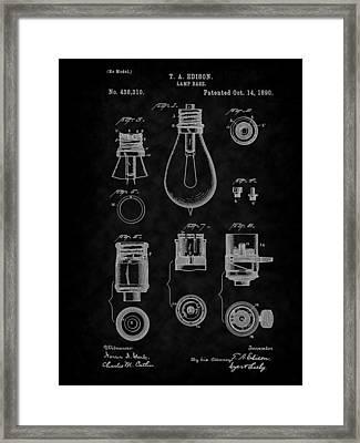 1890 Edison Lamp Base Patent Art-bk Framed Print by Barry Jones