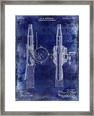 1890 Fishing Reel Patent Drawing  Blue Framed Print