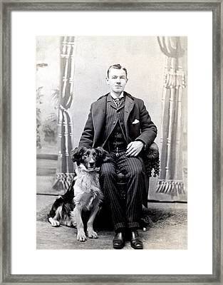 1890 Gentleman And His Dog Framed Print by Historic Image