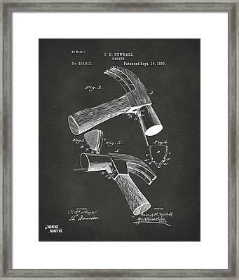 1890 Hammer Patent Artwork - Gray Framed Print by Nikki Marie Smith