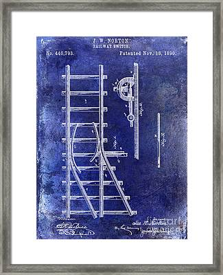 1890 Railway Switch Patent Drawing Blue Framed Print