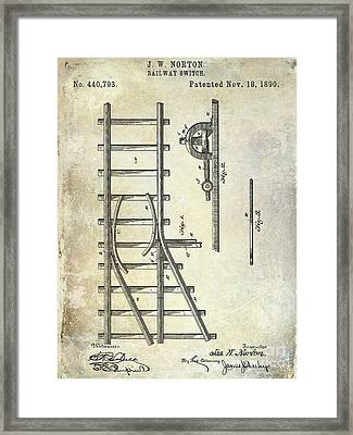 1890 Railway Switch Patent Drawing Framed Print