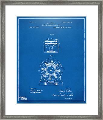 1890 Tesla Motor Patent - Blueprint Framed Print