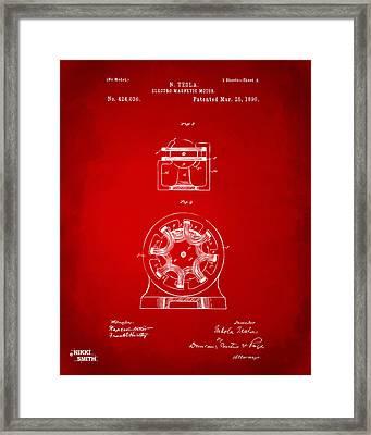 1890 Tesla Motor Patent - Red Framed Print