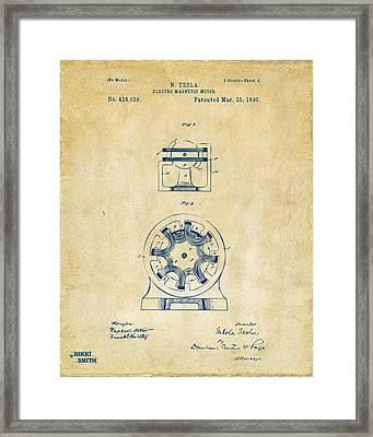 1890 Tesla Motor Patent - Vintage Framed Print