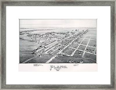 1890 Vintage Map Of Plano Texas Framed Print by Stephen Stookey