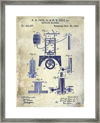 1890 Wine Bottling Machine 2 Tone Framed Print