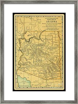 1891 Arizona Map Framed Print