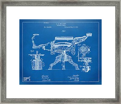 1891 Barber's Chair Patent Artwork Blueprint Framed Print by Nikki Marie Smith