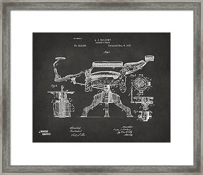1891 Barber's Chair Patent Artwork - Gray Framed Print by Nikki Marie Smith
