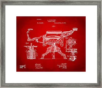 1891 Barber's Chair Patent Artwork Red Framed Print by Nikki Marie Smith