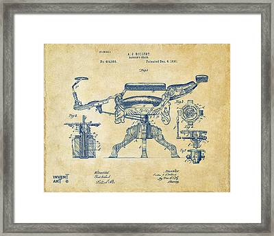 1891 Barber's Chair Patent Artwork Vintage Framed Print