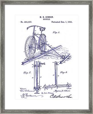 1891 Bicycle Patent Blueprint Framed Print by Jon Neidert