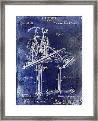 1891 Bicycle Patent Drawing Blue Framed Print by Jon Neidert