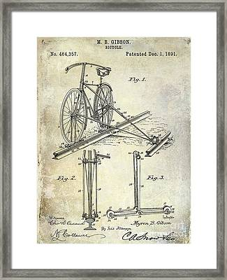 1891 Bicycle Patent Drawing Framed Print by Jon Neidert