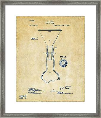 1891 Bottle Neck Patent Artwork Vintage Framed Print