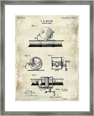 1891 Fishing Reel Patent Drawing Framed Print by Jon Neidert