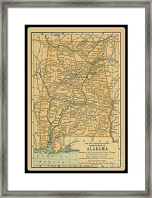 1891 Map Of Alabama Framed Print