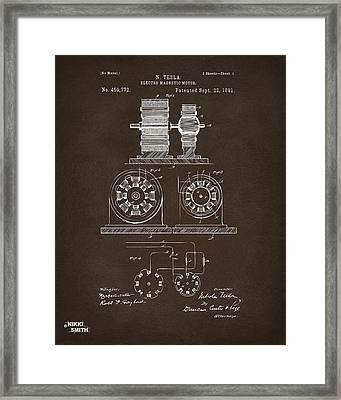 1891 Tesla Electro Magnetic Motor Patent Espresso Framed Print