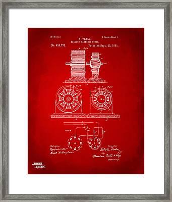 1891 Tesla Electro Magnetic Motor Patent - Red Framed Print