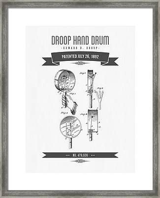 1892 Droop Hand Drum Patent Drawing Framed Print by Aged Pixel