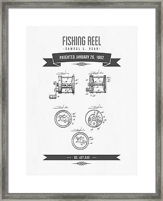 1892 Fishing Reel Patent Drawing Framed Print by Aged Pixel