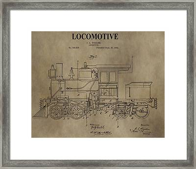 1892 Locomotive Patent Framed Print by Dan Sproul