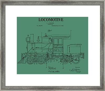 1892 Locomotive Patent On Green Framed Print by Dan Sproul