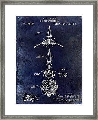 1892 Motorcycle Helmet Spike Patent Drawing Blue Framed Print