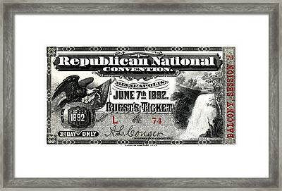1892 Republican Convention Ticket Framed Print