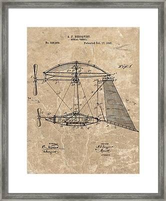 1893 Aerial Vessel Patent Framed Print
