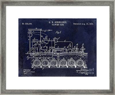 1893 Beer Brewing Patent Drawing Blue Framed Print