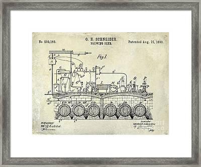 1893 Beer Brewing Patent Drawing Framed Print by Jon Neidert